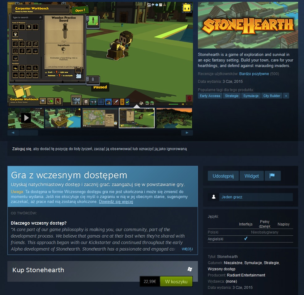 steam early access stonehearth alpha 10.5 release wczesny dostep